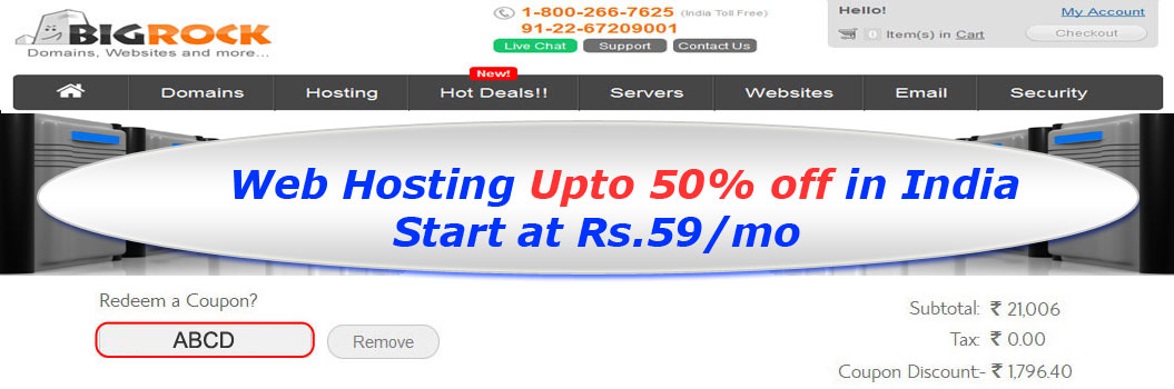 "Bigrock India Domain Registration & Web Hosting Coupons – ""Coupon offers"" 