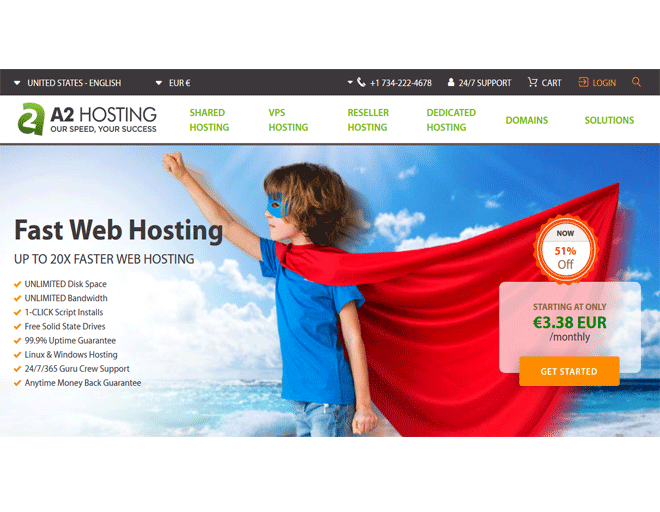 Best Reseller hosting in Europe: Faster Reseller hosting from A2hosting web hosting company plans