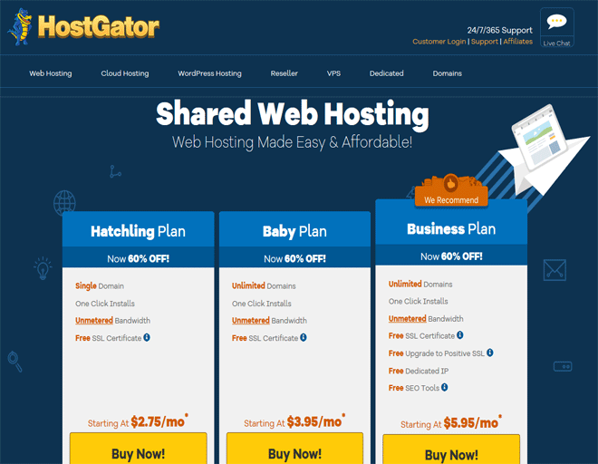 Buy .COM/ .IN domains in Europe: Types of domain registrations from Hostgator web hosting company plans