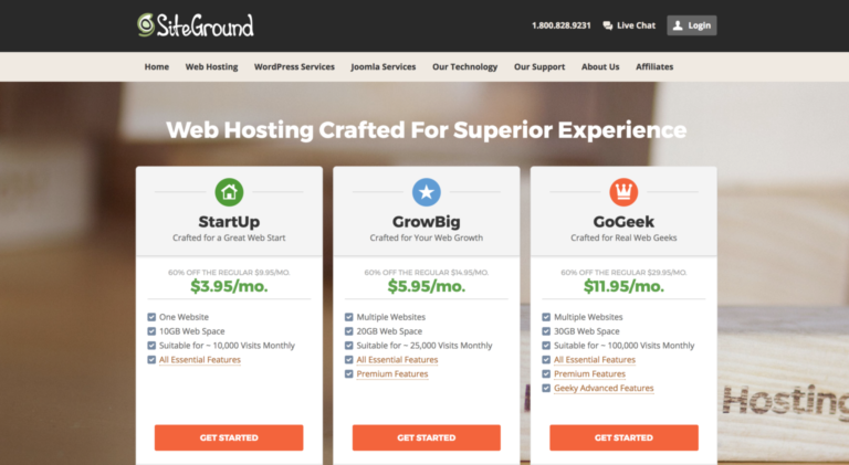 Best cheap hosting in Europe: Faster cheap hosting from Siteground web hosting company plans