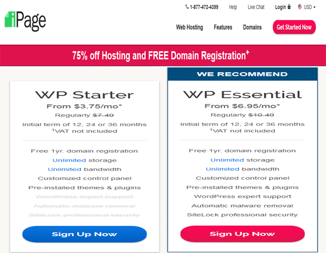 iPage coupons, discount on WordPress hosting